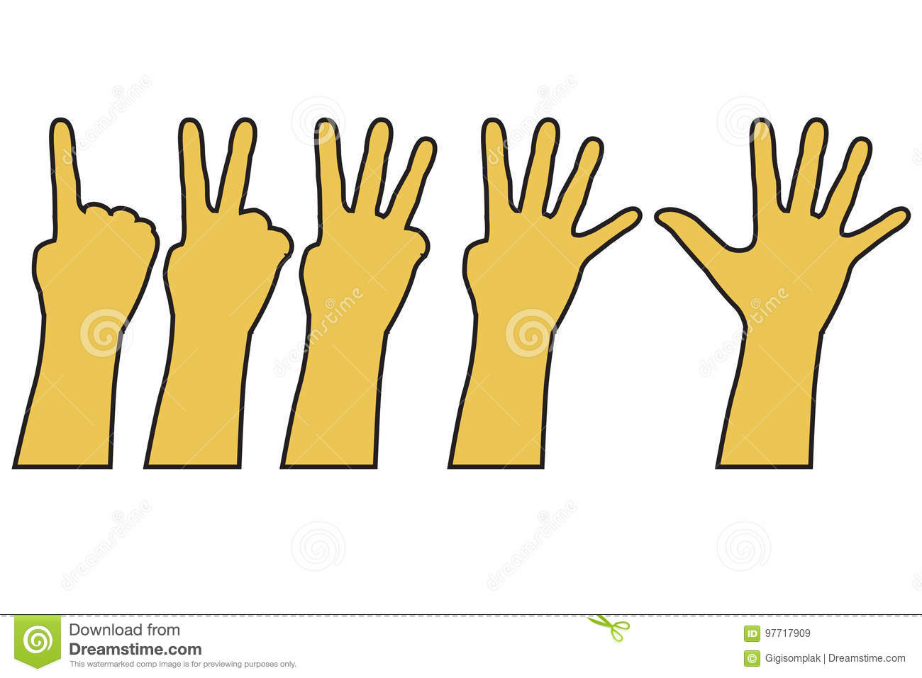 Counting Hand One To Five Isolated On White Stock Vector