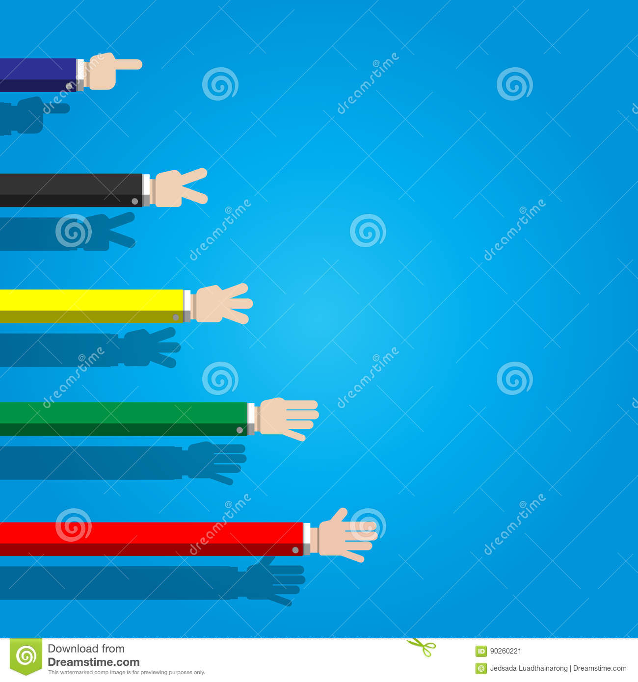 Counting Hand Sign From One To Five Stock Vector