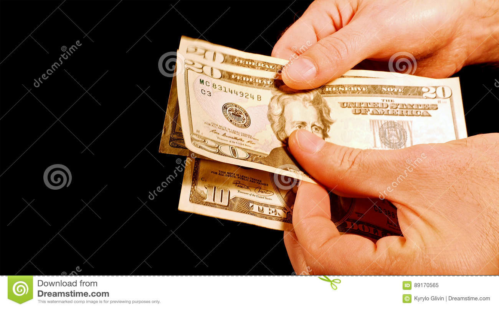 Counting Money Cash Dollars Bills In Hands Stock Image
