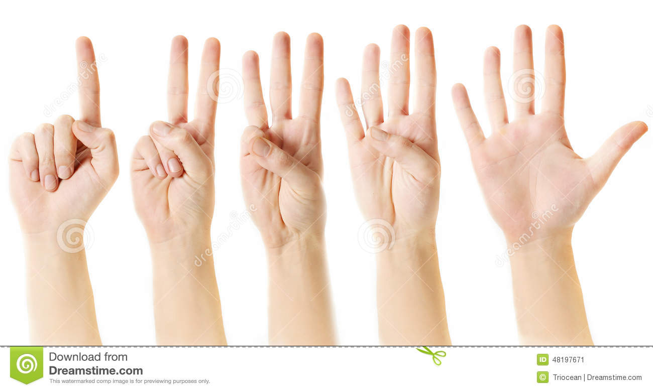 Counting From One To Five With Fingers Stock Image