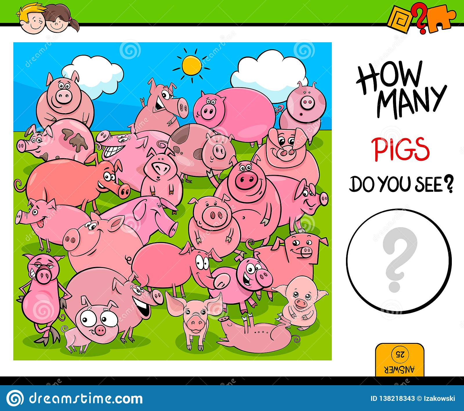 Counting Pig Characters Educational Activity Stock Vector