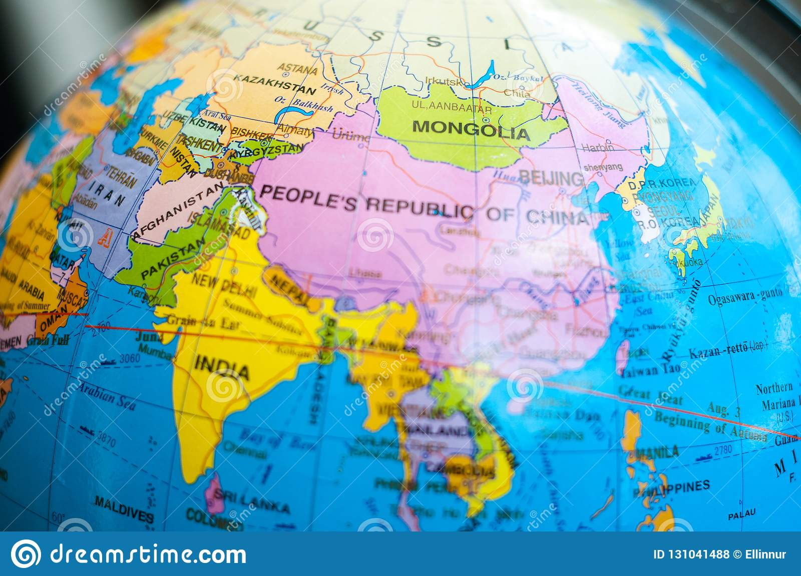 Countries And Continents Close Up With The Color Map On A