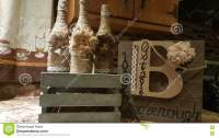 Country chic decor stock photo. Image of wine, bottles ...