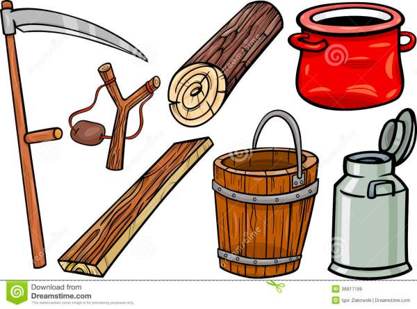 country objects cartoon illustration