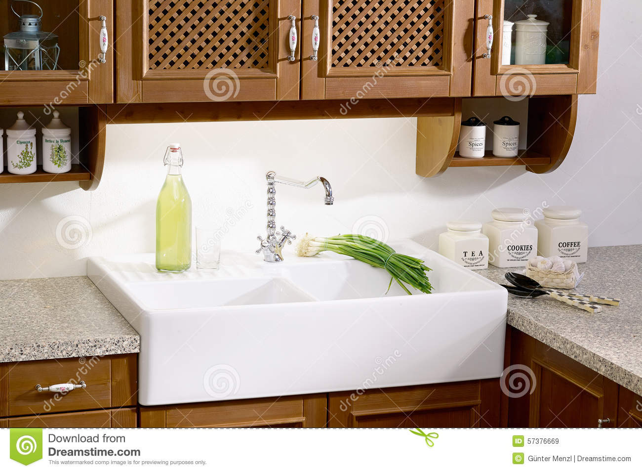 country style kitchen sink countertop refinishing stock photo image 57376669