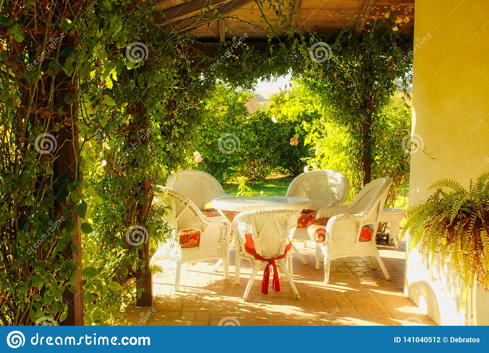 https www dreamstime com country style white wicker patio furniture red cushions table chair image141040512