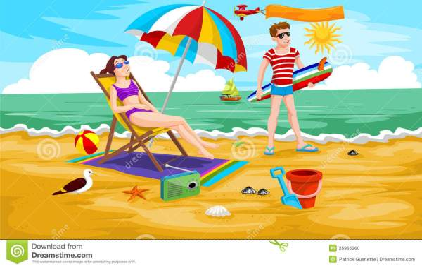 couple beach illustration