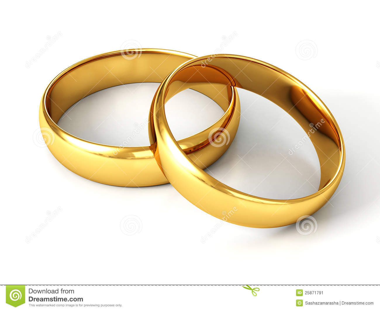 Couple Of Gold Wedding Rings On White Background Stock