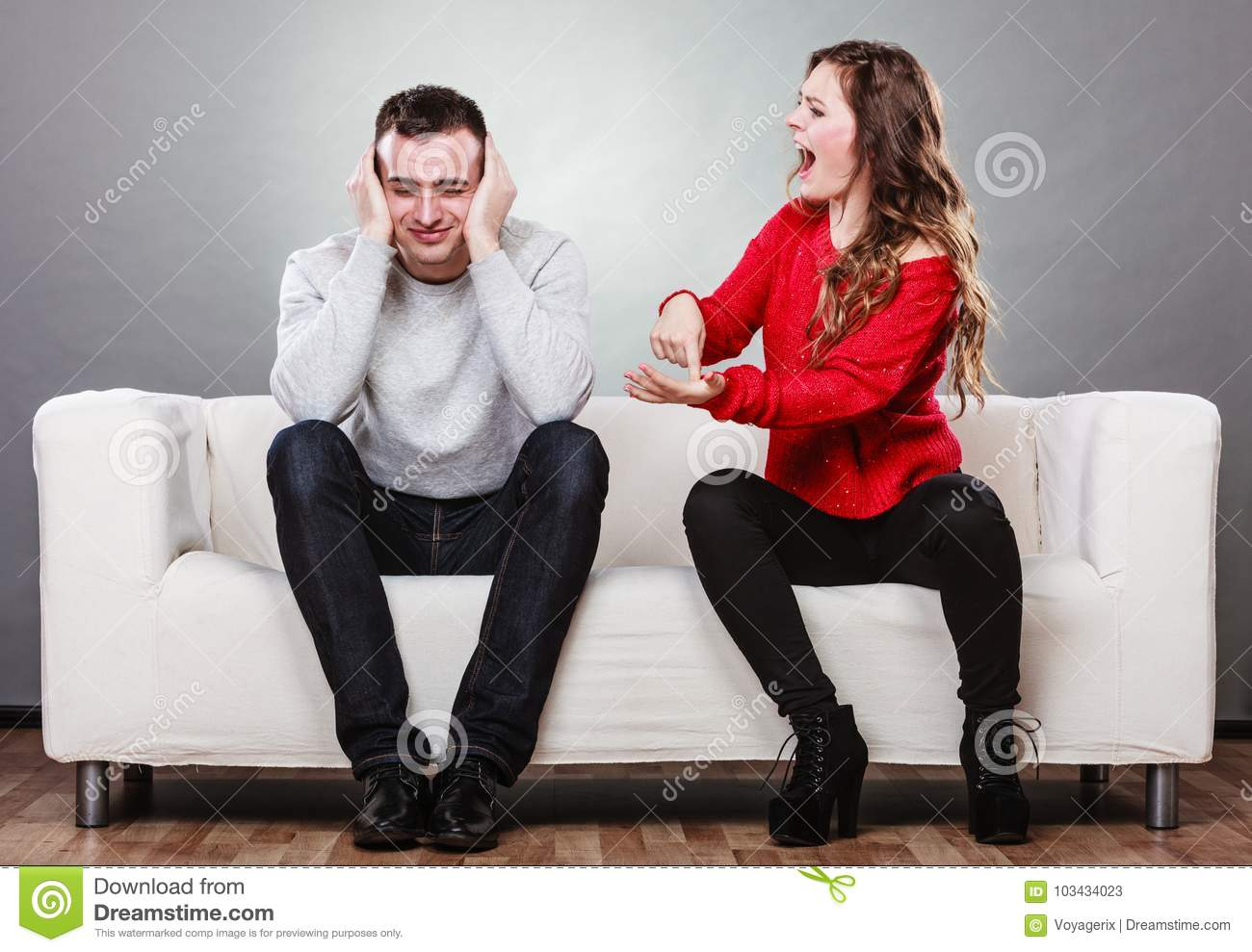 Angry Fury Woman Screaming Man Closes His Ears Stock