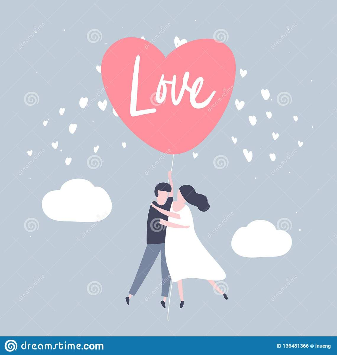Download Couple Holding The String Of Flying Red Heart Balloon ...