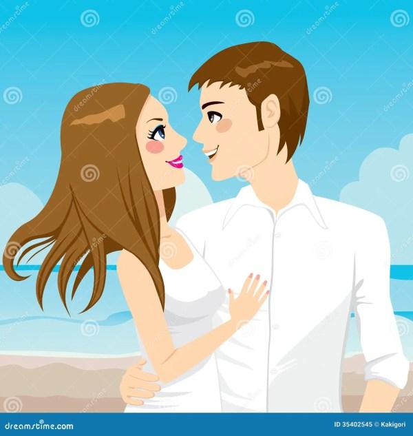 couple hugging beach stock vector