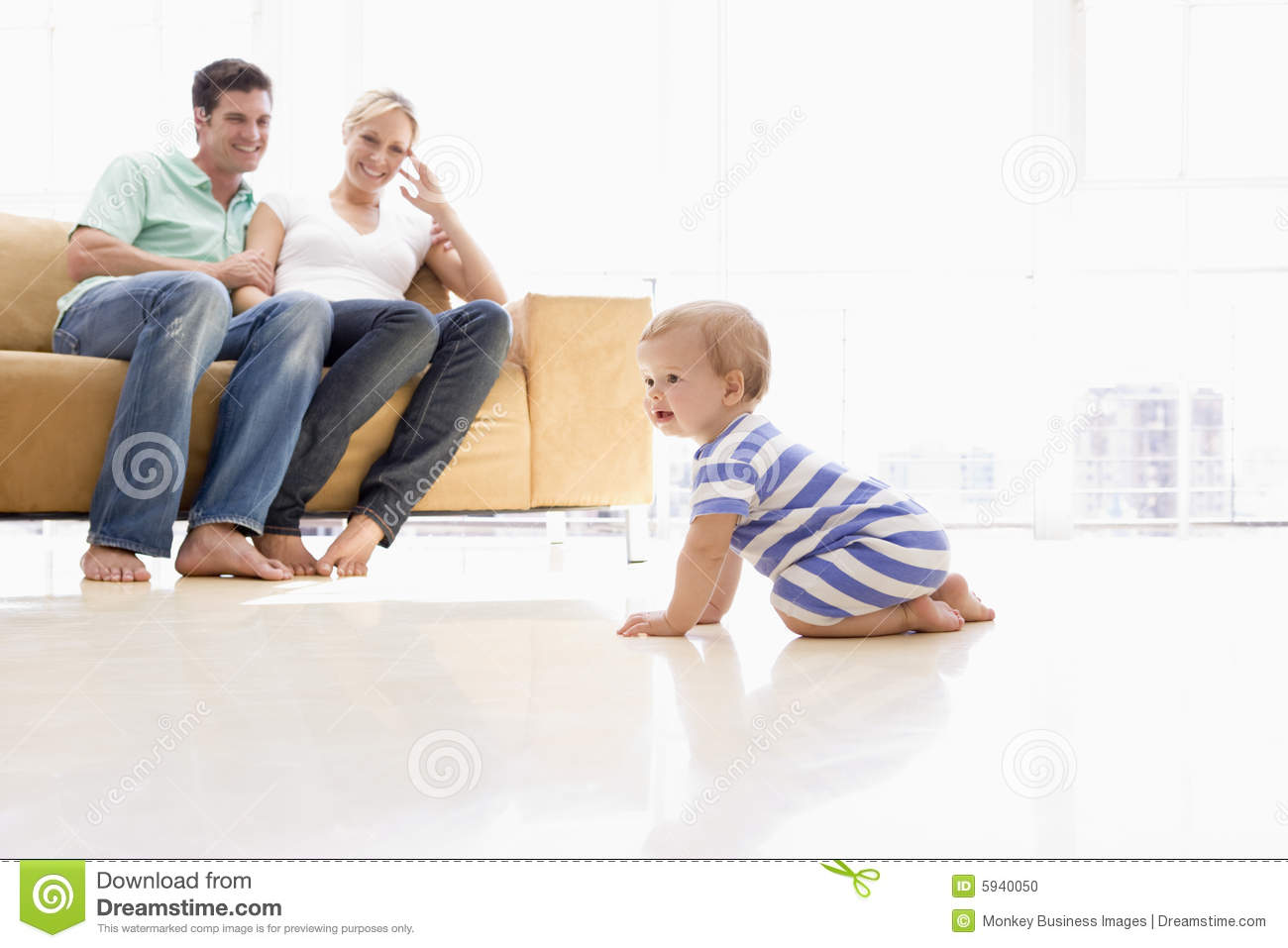 Couple In Living Room With Baby Stock Photo  Image 5940050