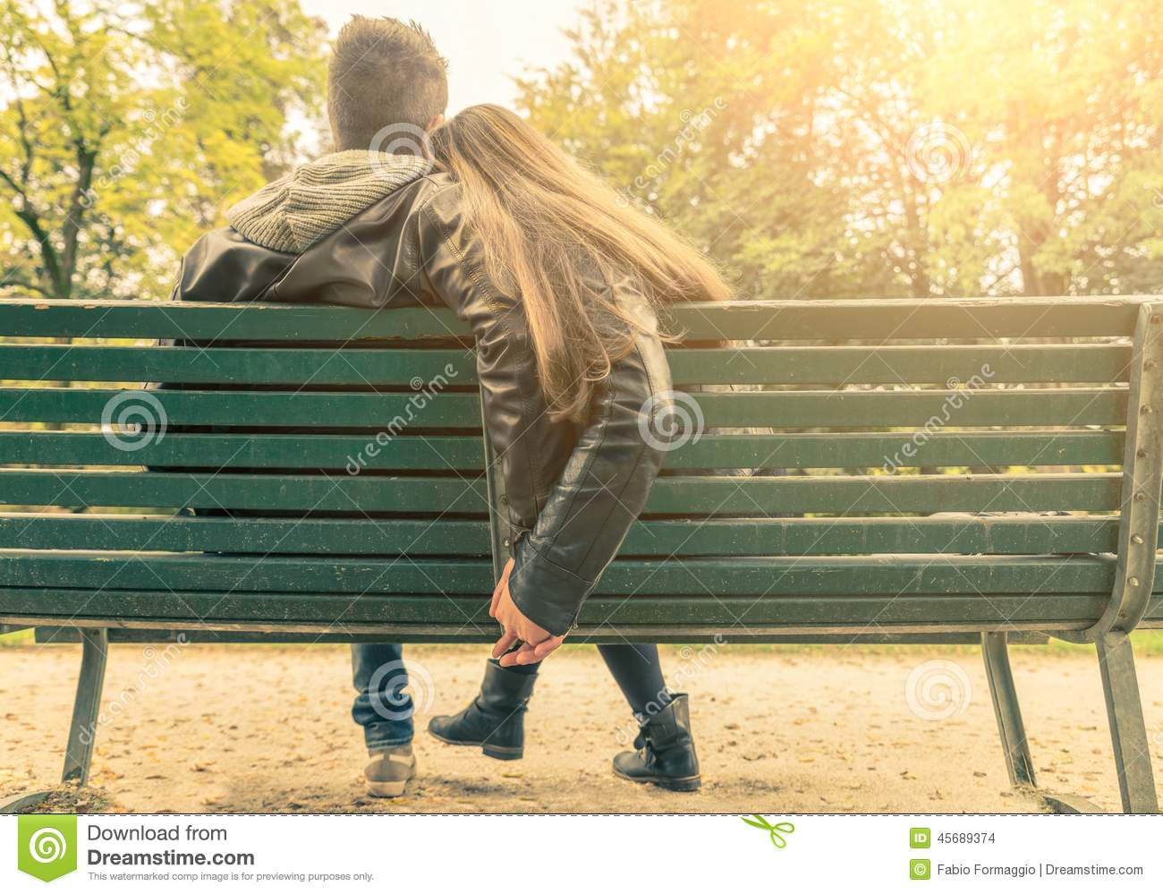 Girl Sitting In Garden Wallpaper Couple In Love On A Bench Stock Photo Image 45689374