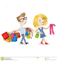 shopping clothes cartoon husband characters couple boyfriend happy picking illustration bored woman vector bags carrying looking tired wife fatigued shutterstock