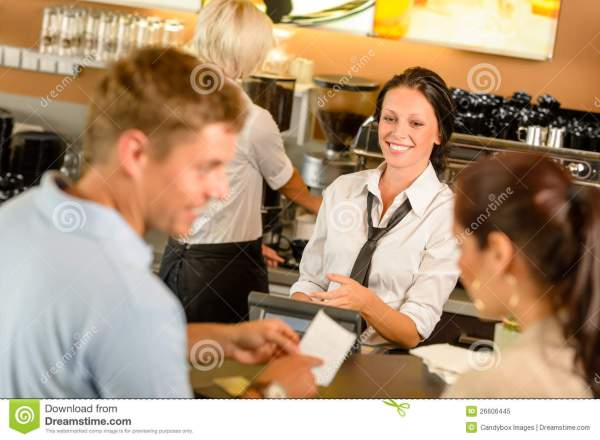 Couple Paying Bill At Cafe Cash Desk Royalty Free Stock ...