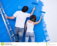 Couple Of People Painting The Wall Royalty Free Stock ...