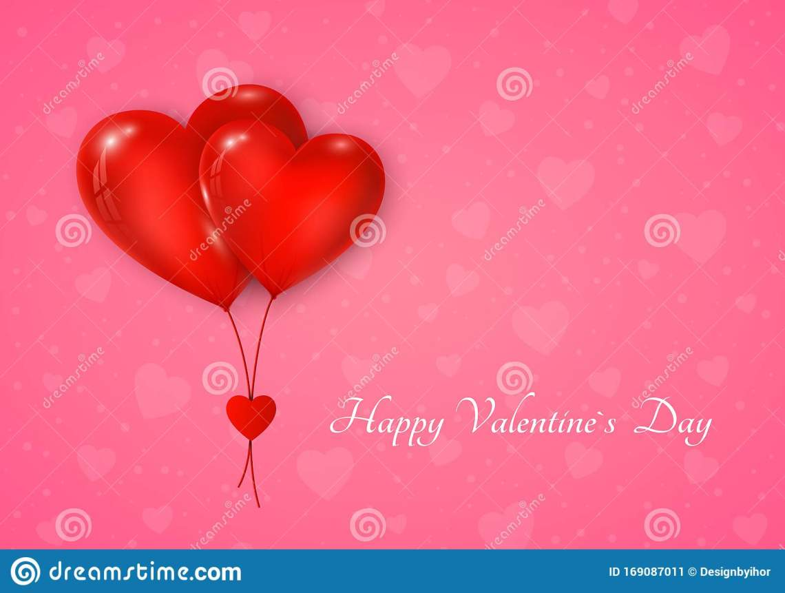 Download Couple Of Red Hearts Balloon With Message. Valentines Day ...