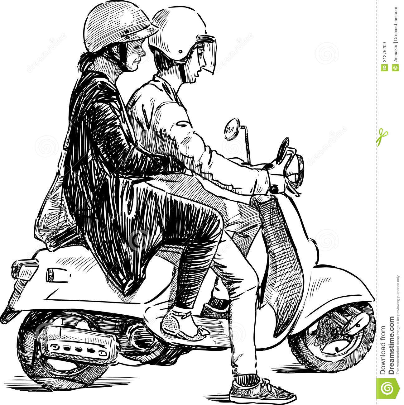 Couple On A Scooter Royalty Free Stock Images