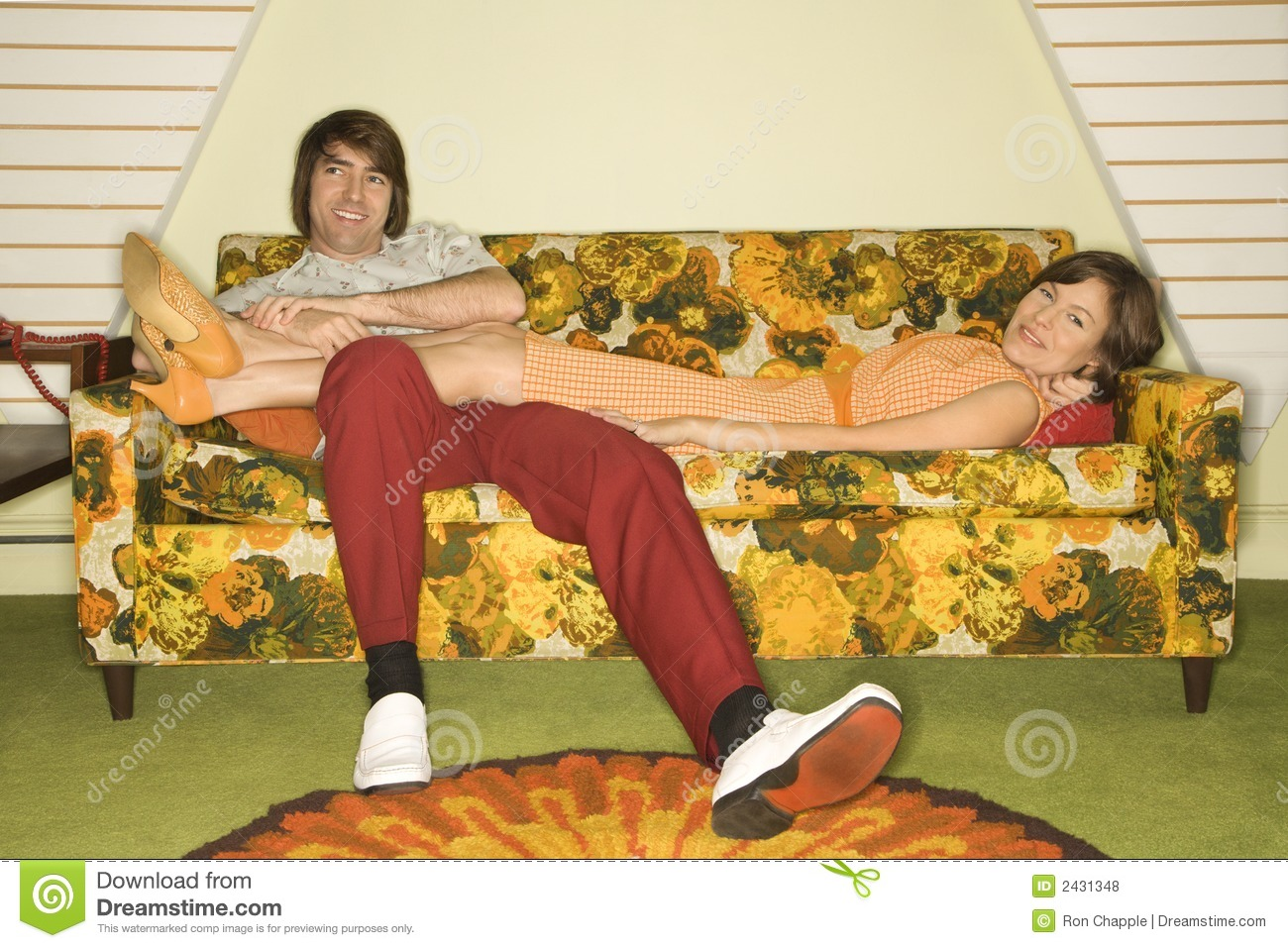 70s sofa two piece sectional bed couple on sofa. stock photo. image of 1960s, comfortable ...