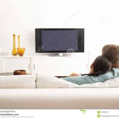Tv Sofa Protector For Dogs Couple On Watching Stock Photo Image Of Female