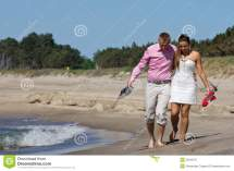 Couple Walking Beach Stock Of Wave