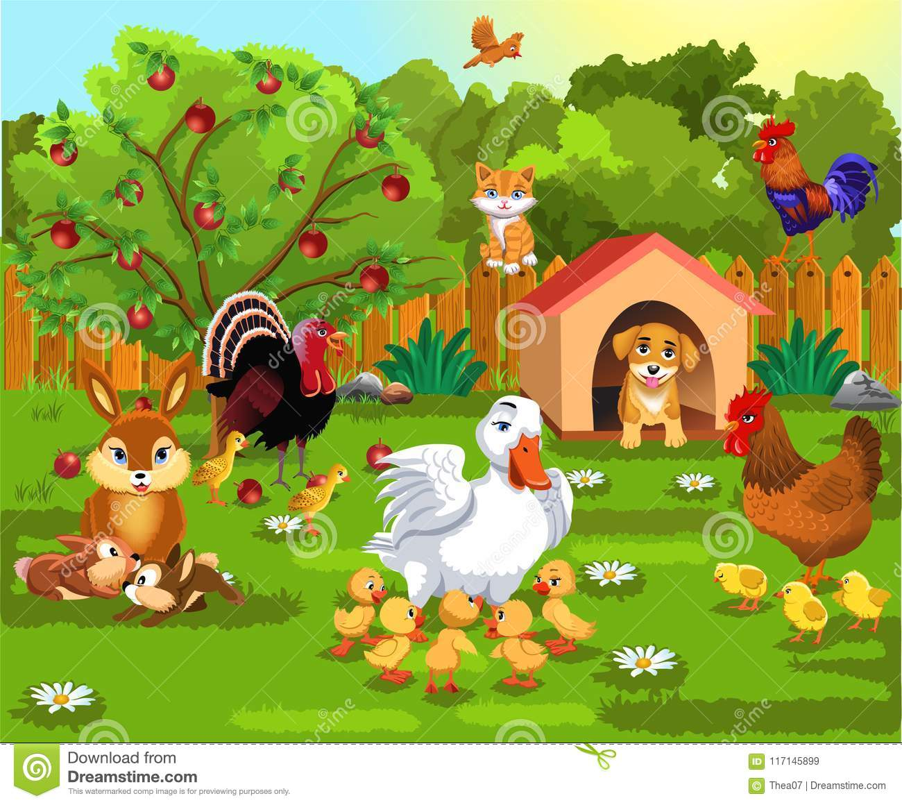 Courtyard With Farm Animals And Their Babies Stock Vector