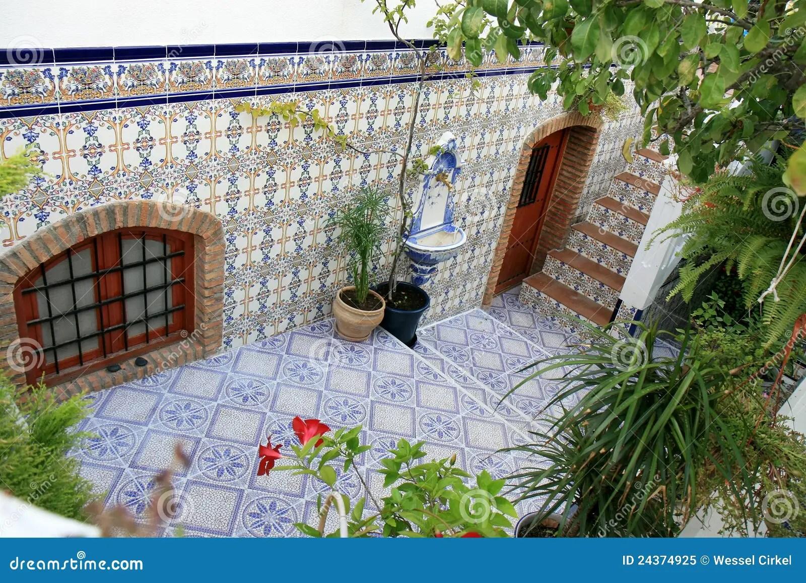 Courtyard With Spanish Azulejos Nijar Andalusia Stock