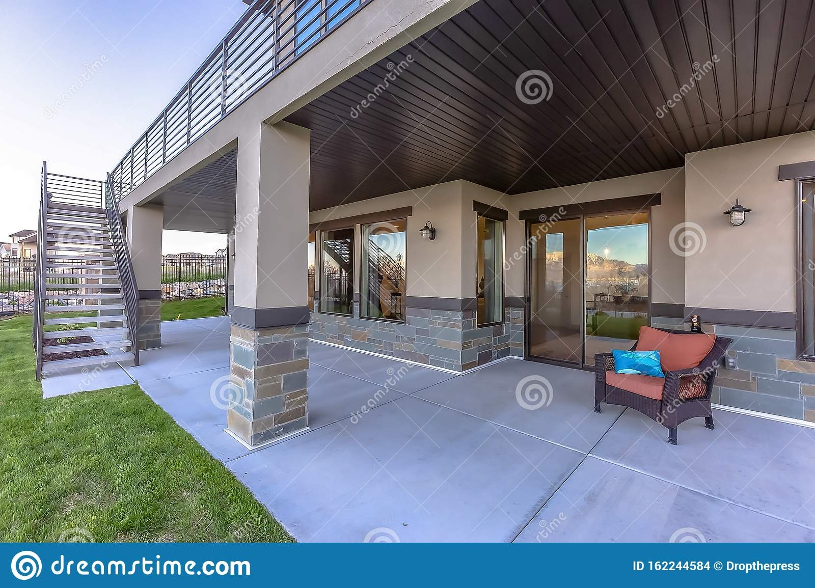 Covered Exterior Patio In Front Of A House Stock Photo Image Of | Outside Steps For House | Front Door | Entryway | Decorative | Ranch Style House | Beautiful