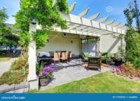 House Exterior. Backyard Porch And Garden Stock Image ...