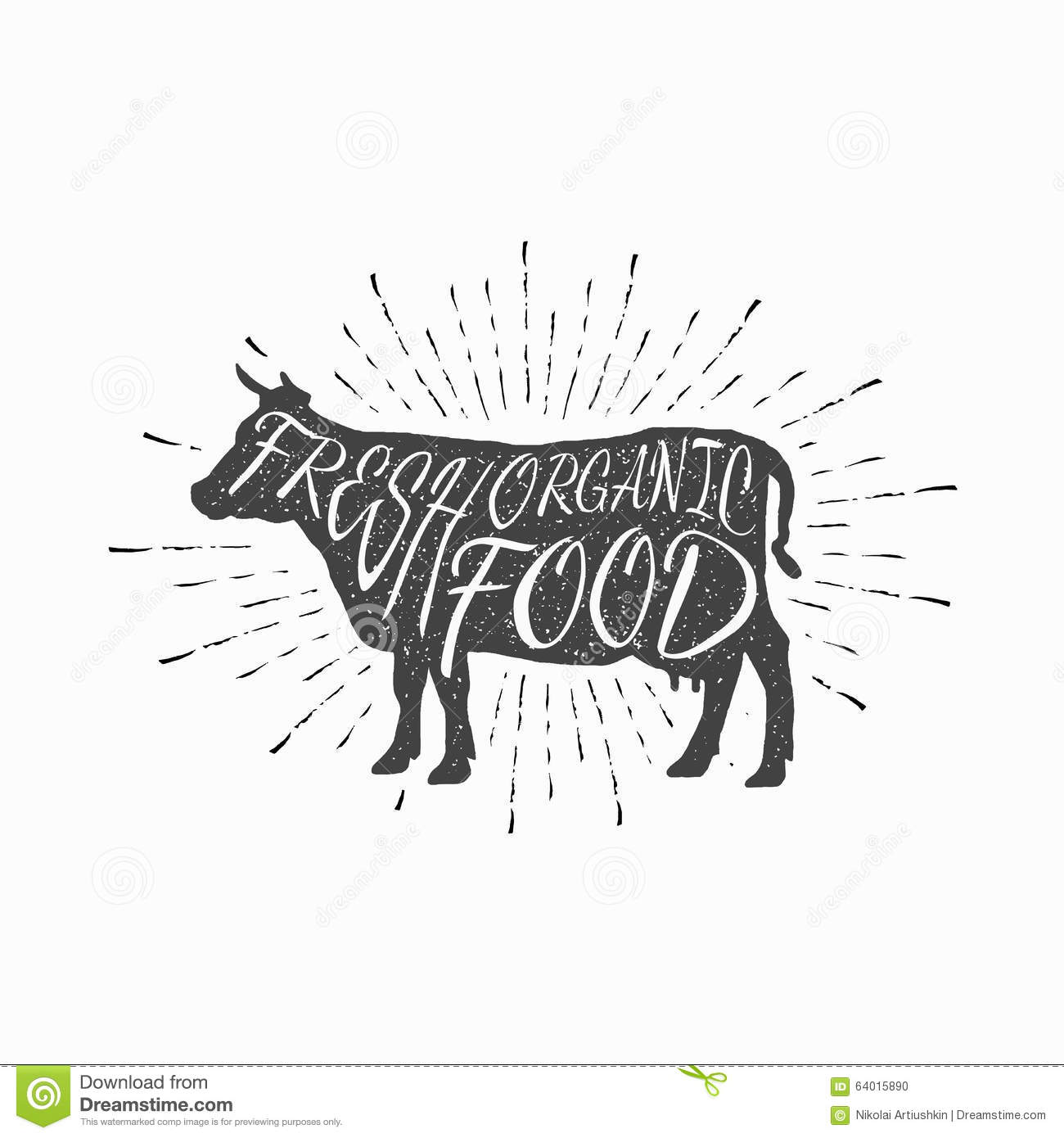 Cow Farm Animal Icon Butchery Concept Isolated Stock