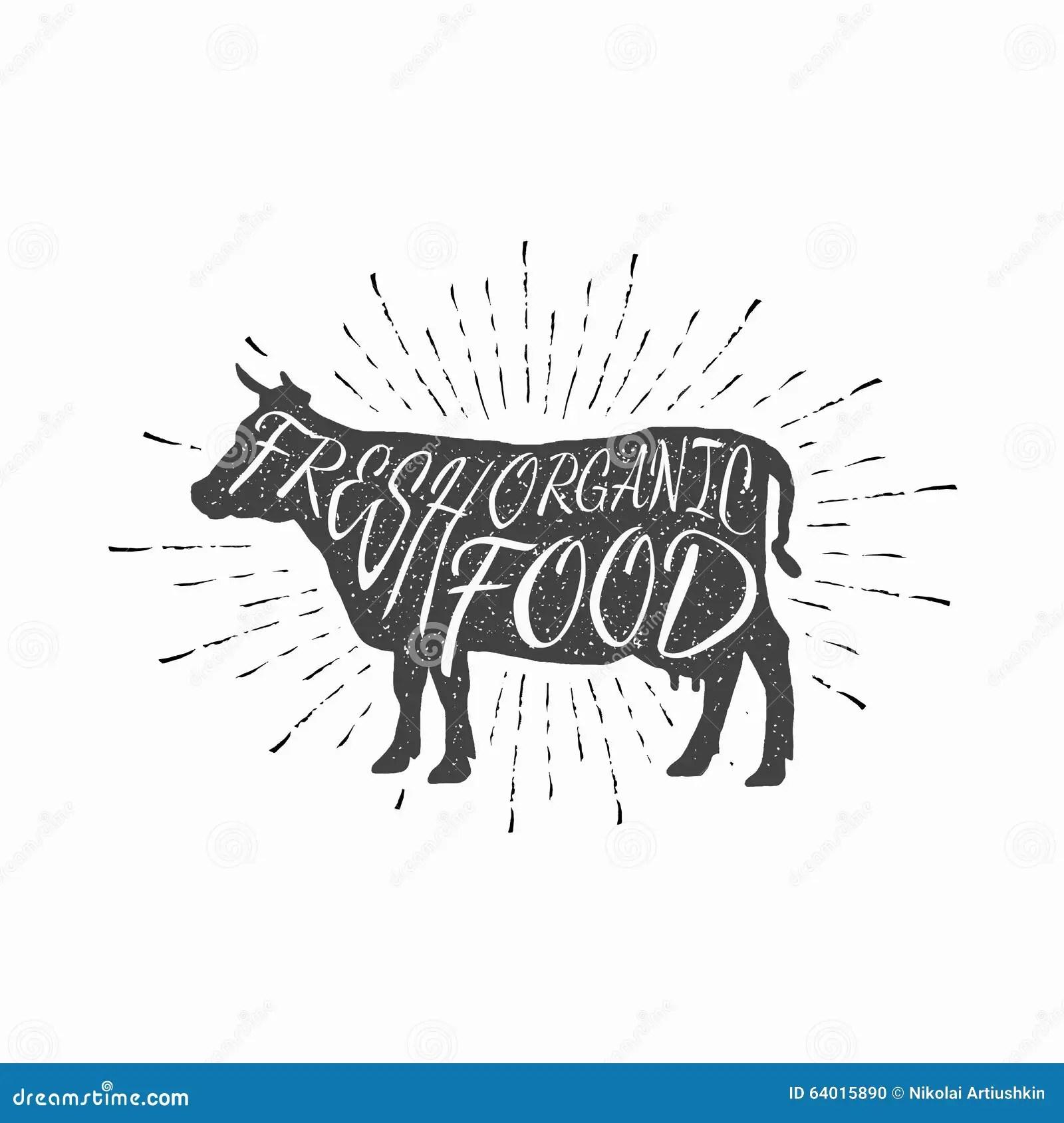 Cow Farm Animal Icon Butchery Concept Isolated Stock Vector