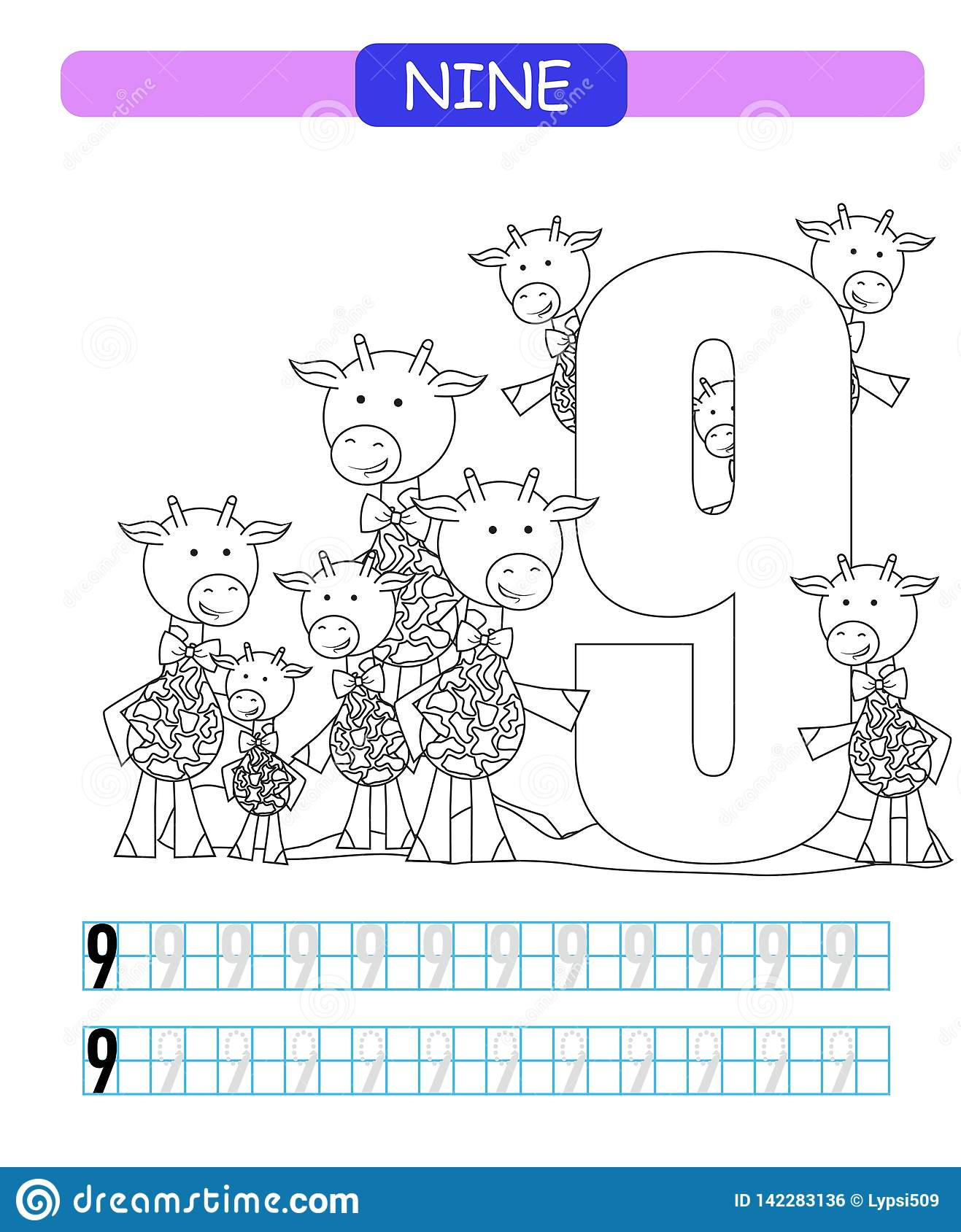 Nine Learning Number 9 Coloring Printable Worksheet For