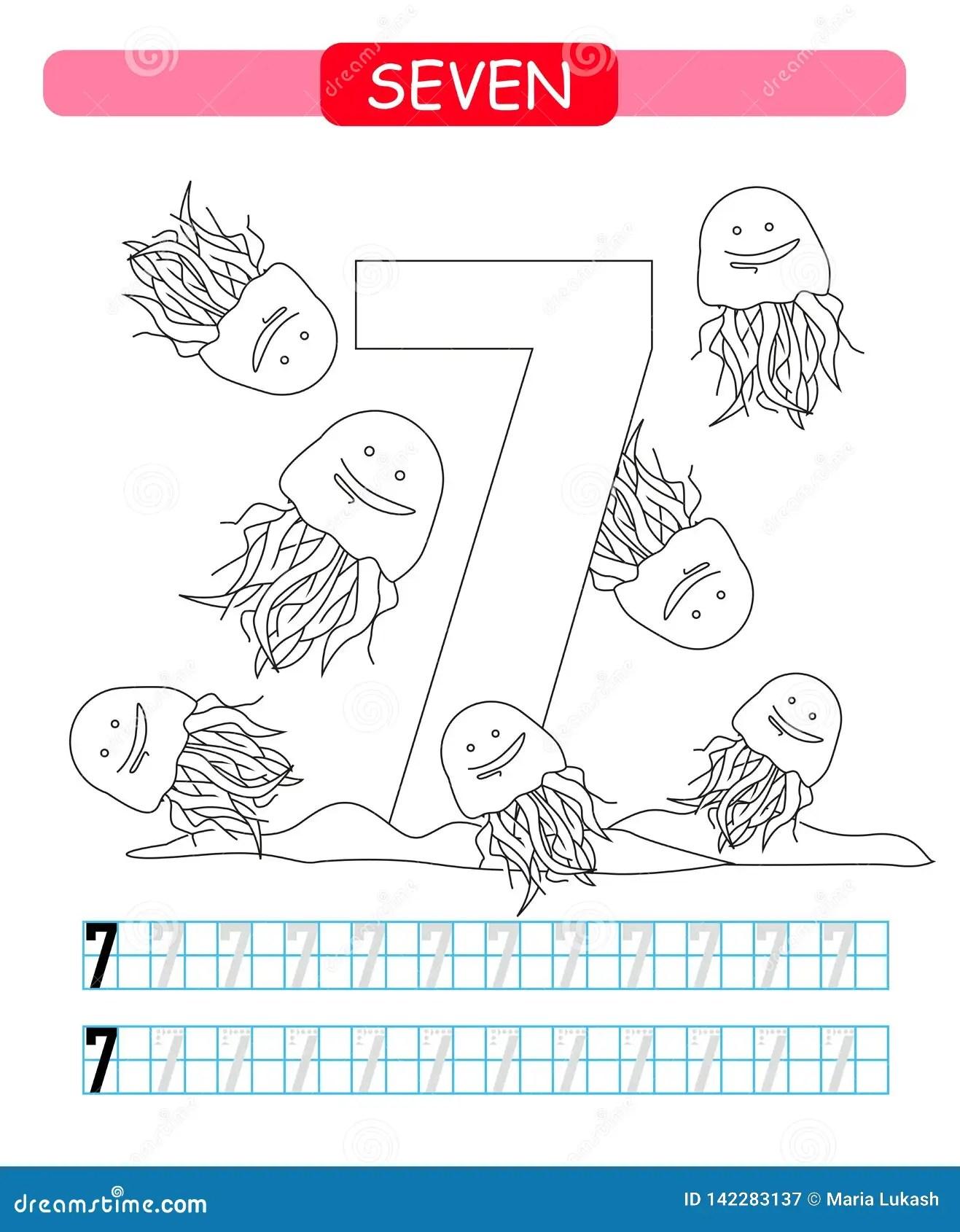 Seven Learning Number 7 Coloring Printable Worksheet For