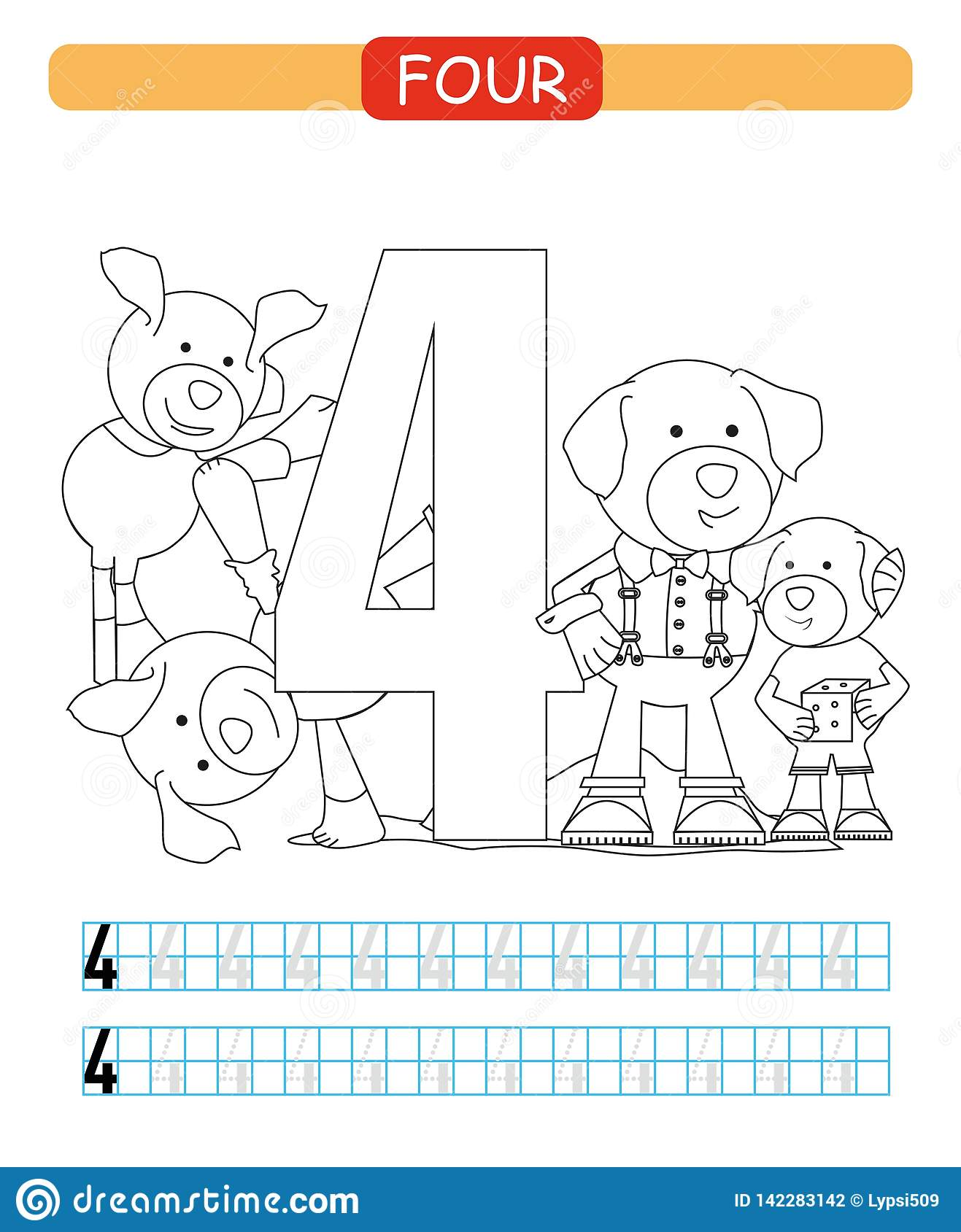 Four Learning Number 4 Coloring Printable Worksheet For