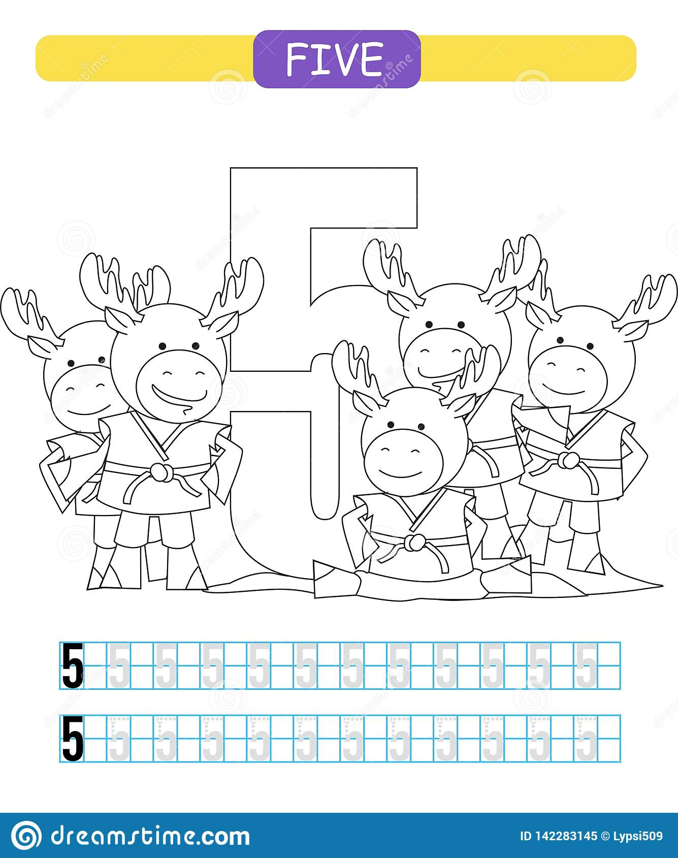 Five Learning Number 5 Coloring Printable Worksheet For