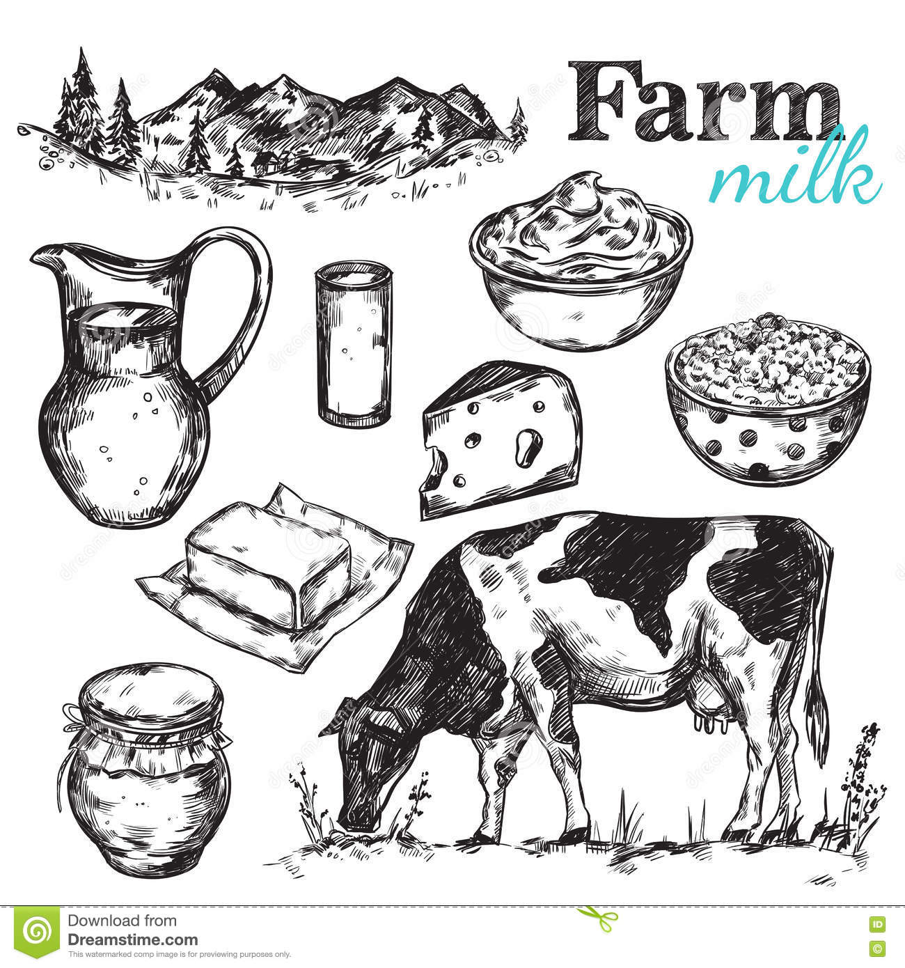 Cow And Nature Milk Sketch Stock Vector Illustration Of