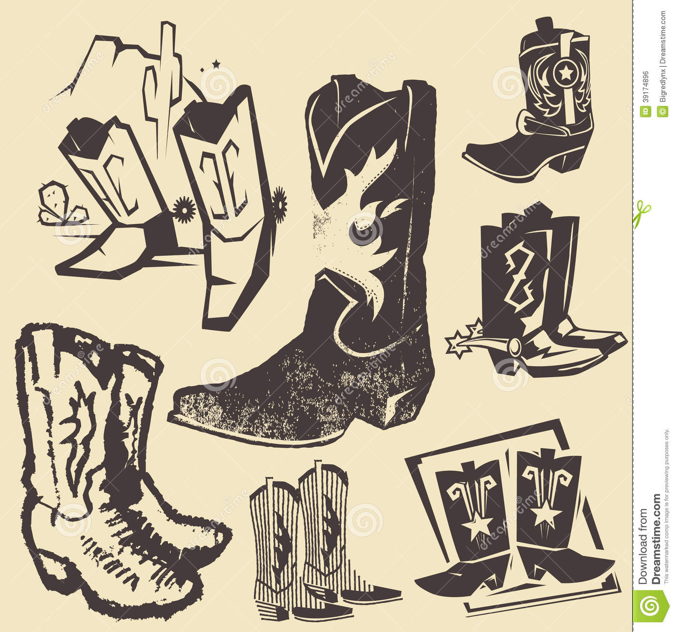 hight resolution of clip art collection of various cowboy boots
