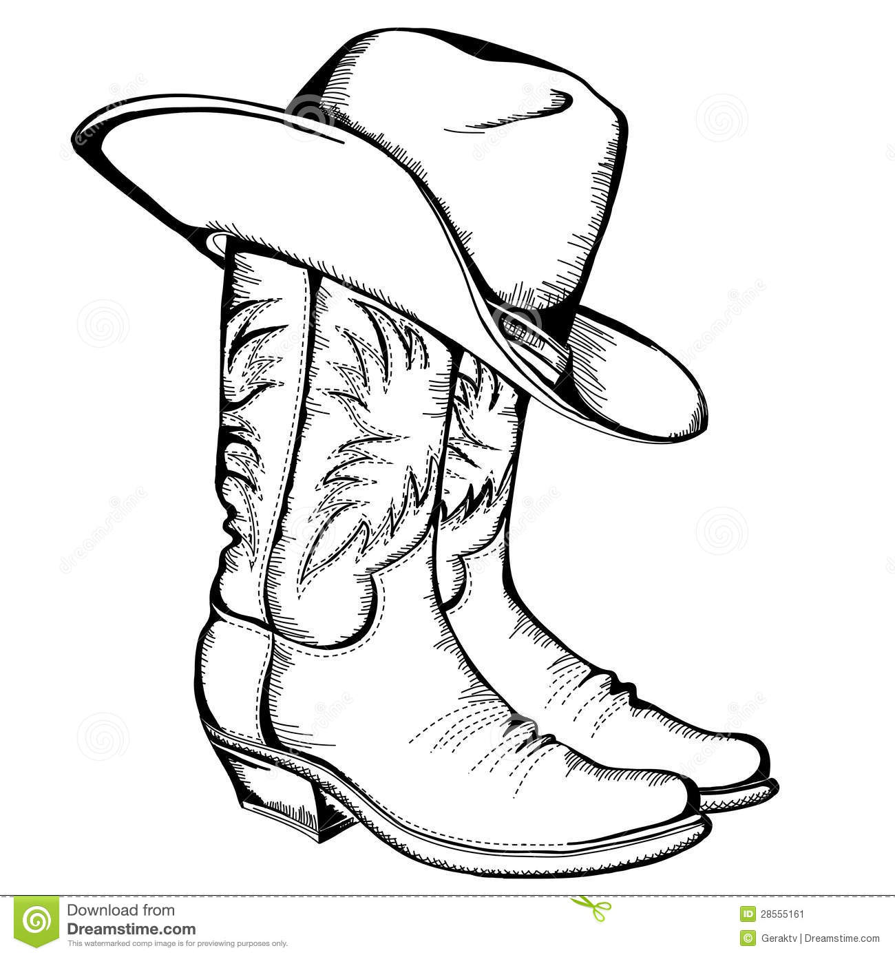 Cowboy Boots And Hat Stock Vector Illustration Of