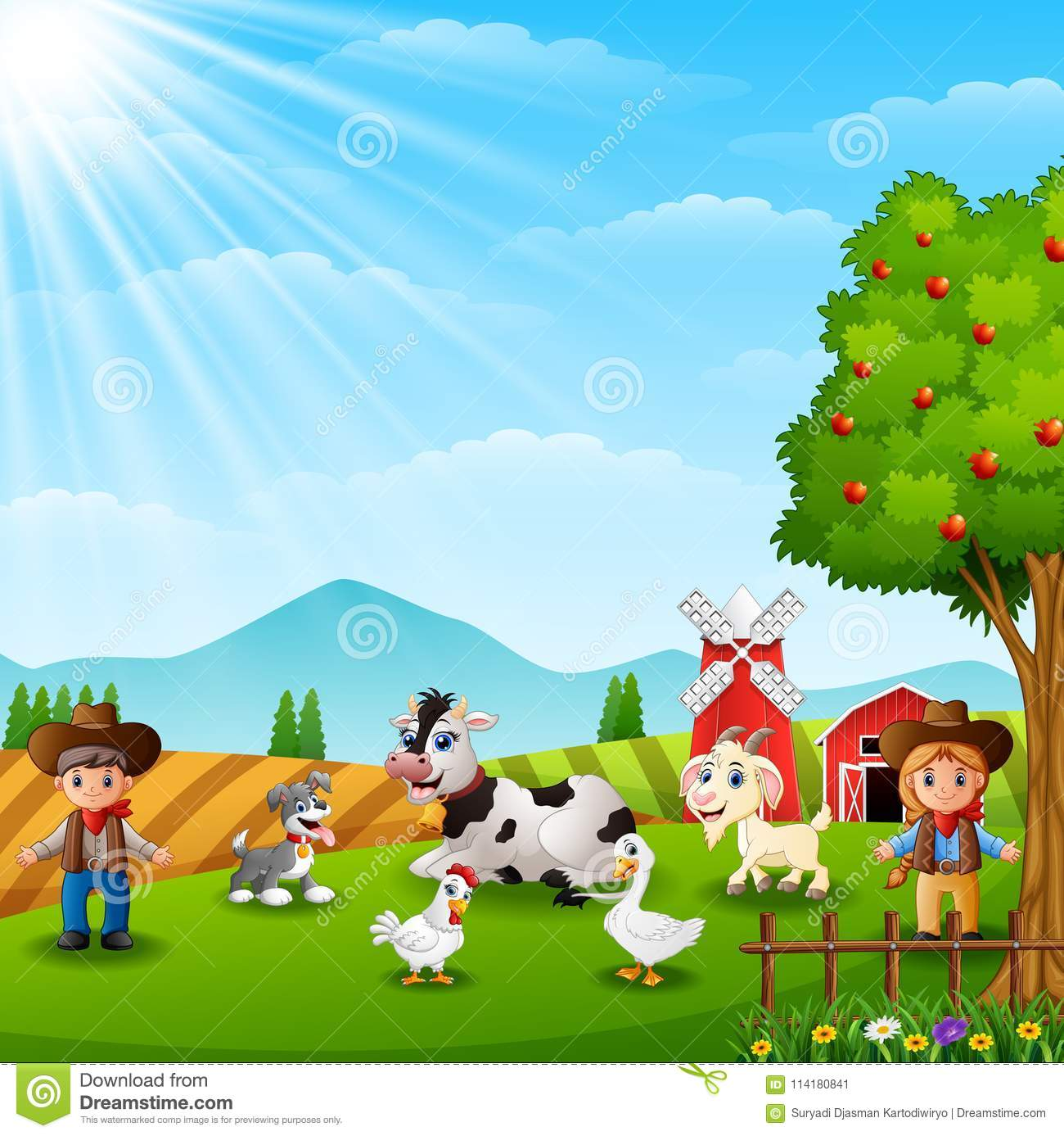 The Cowboy And Cowgirl At The Farm With Animals Stock
