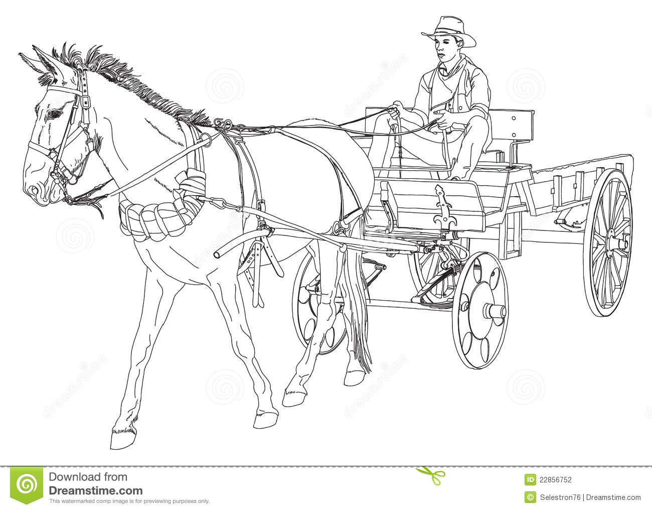 Cowboy Rides In A Wagon Pulled By A Horse Stock