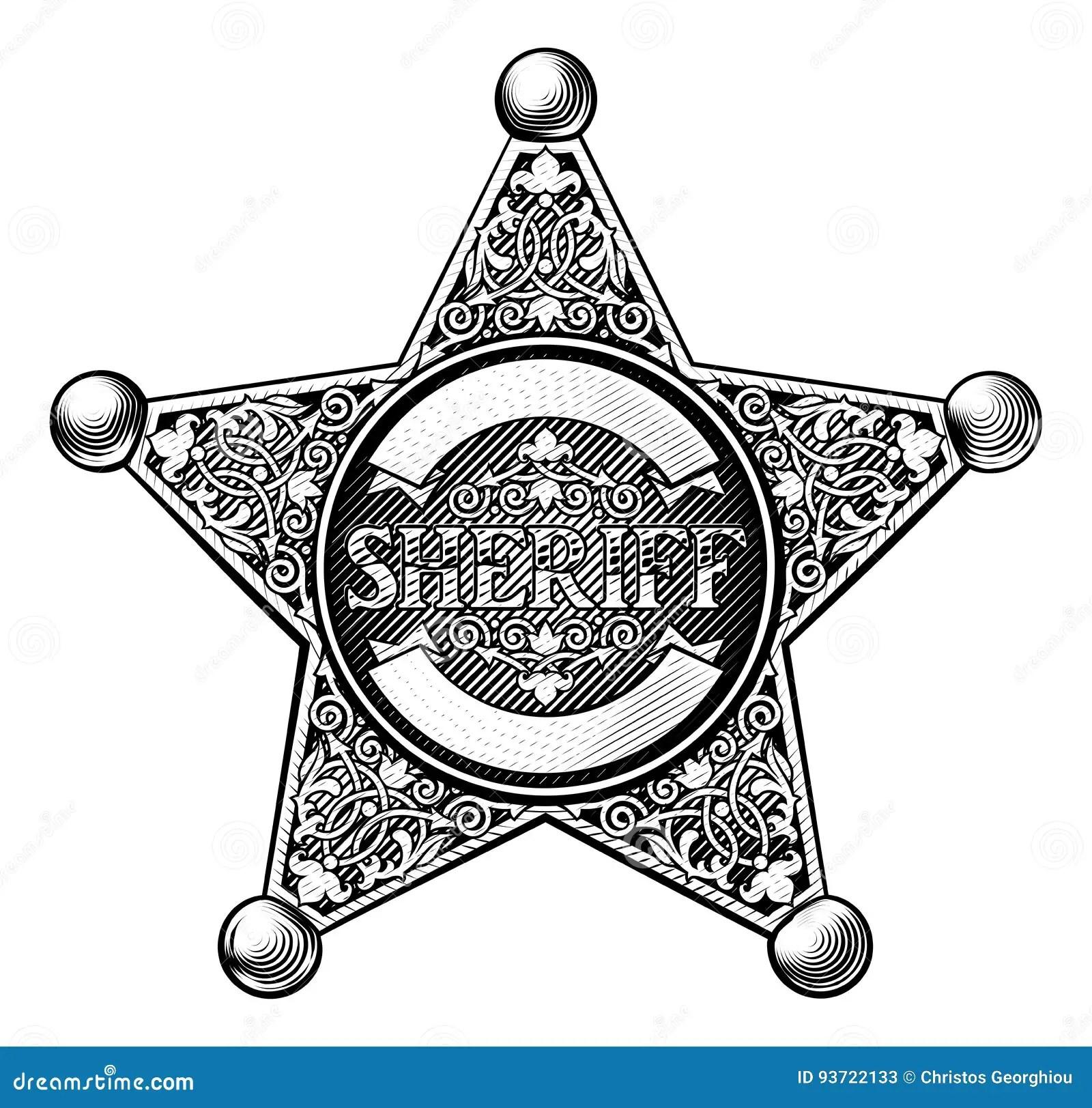 Cowboy Sheriff Star Badge Stock Vector Illustration Of