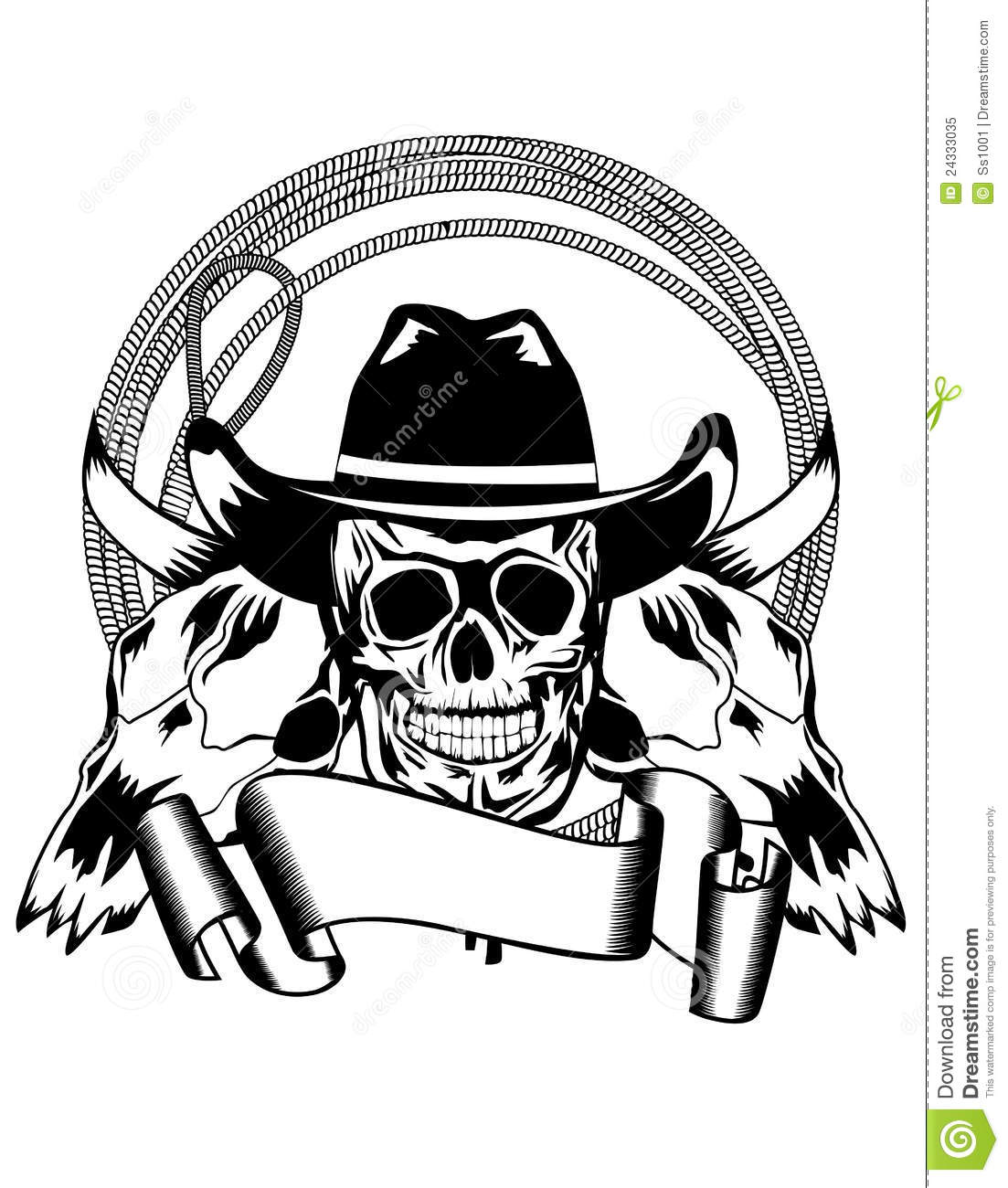Cowboy And Skull Bull Stock Vector Illustration Of Killed