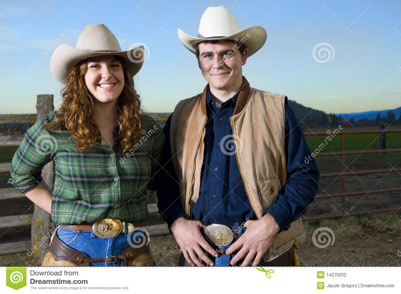 Cowgirl And Cowboy Couple Stock Photo Image Of Barn