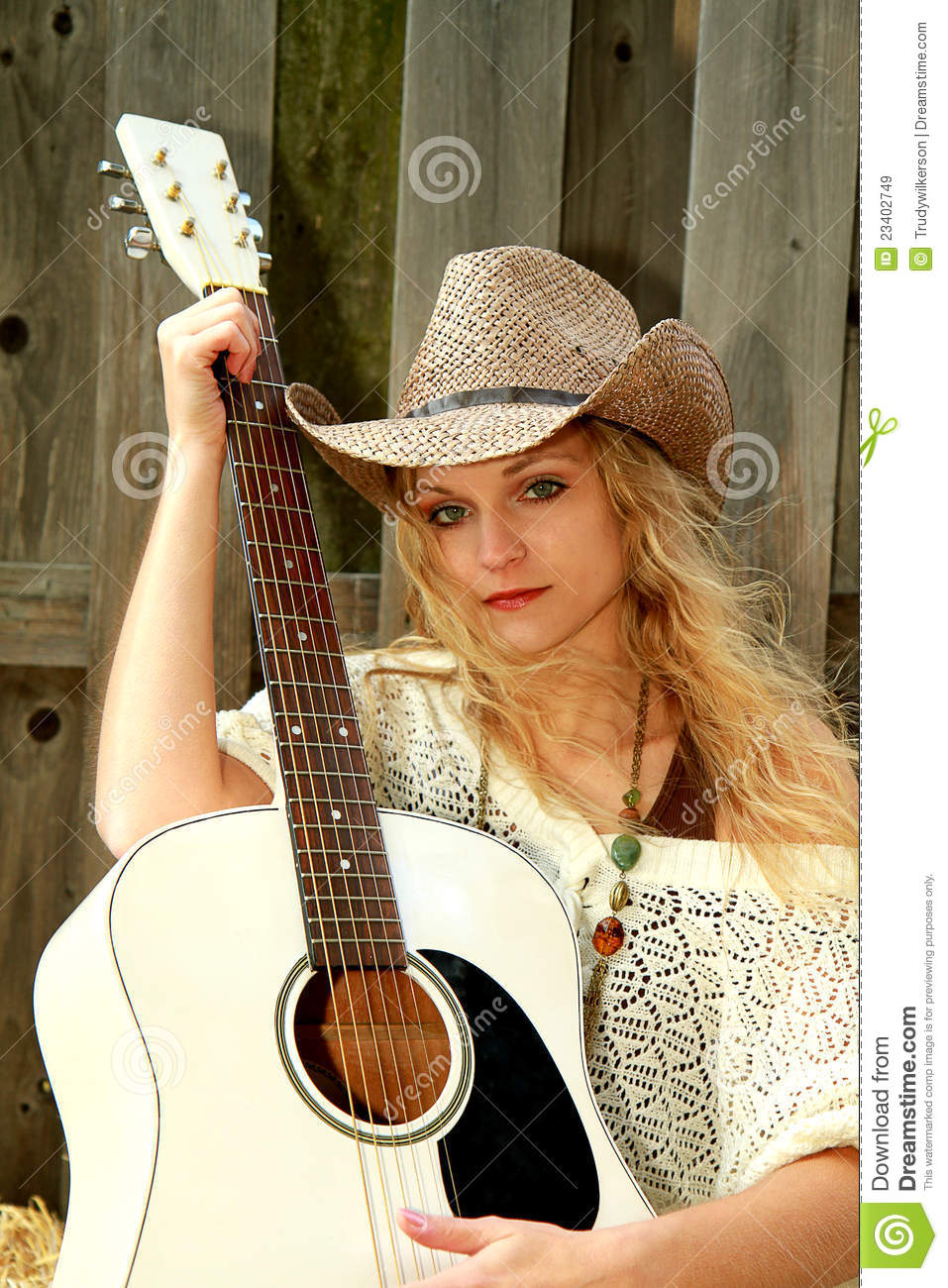 Pretty Girl Wallpaper Free Download Cowgirl And Guitar Stock Image Image Of Weave Hair