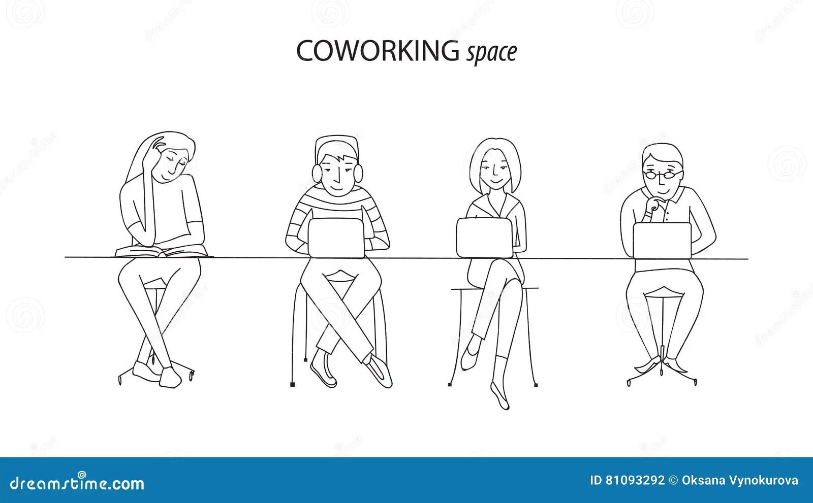 Coworking Office Space Line Vector Stock Vector