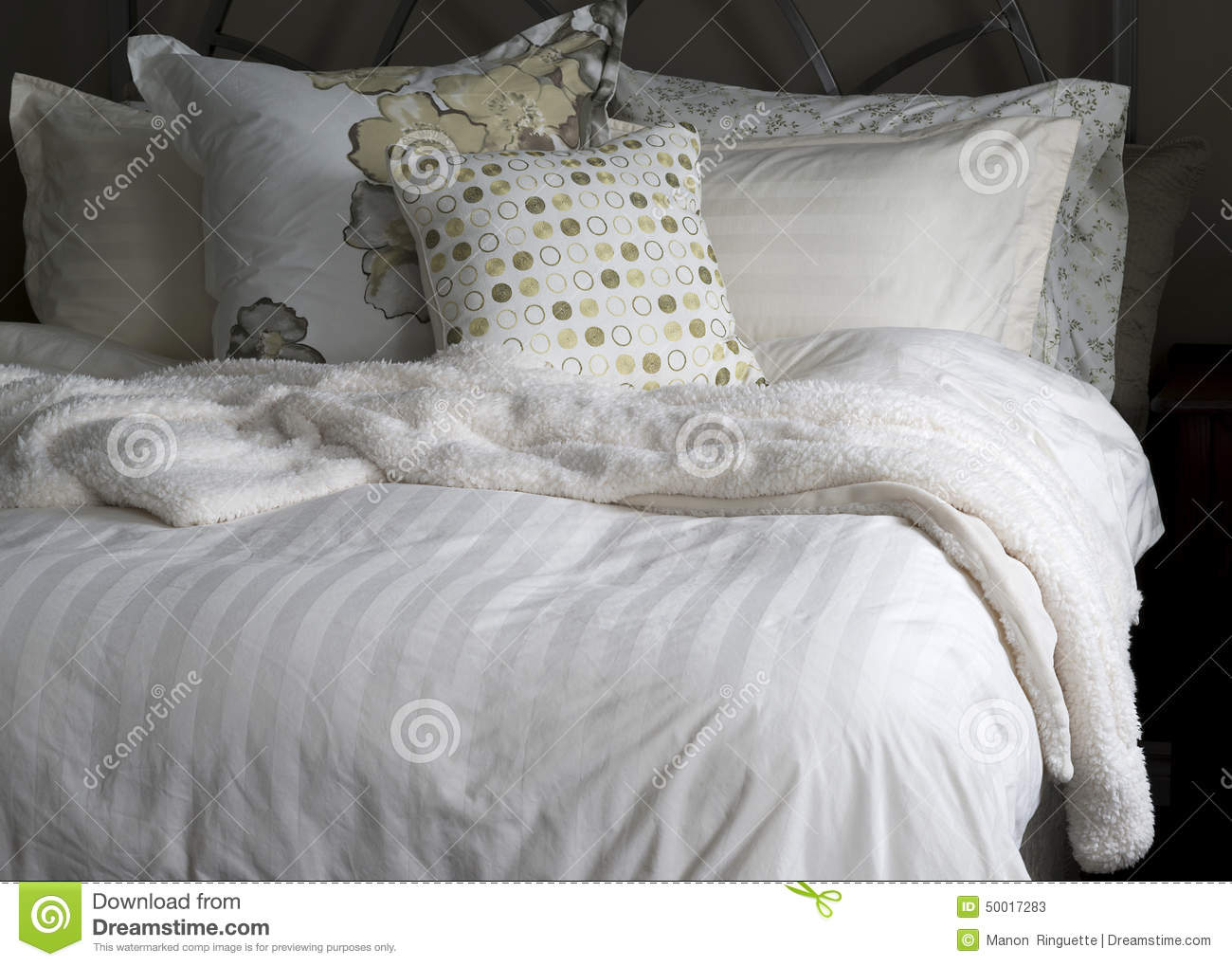 cozy bed linens stock image image of pillows sanctuary 50017283