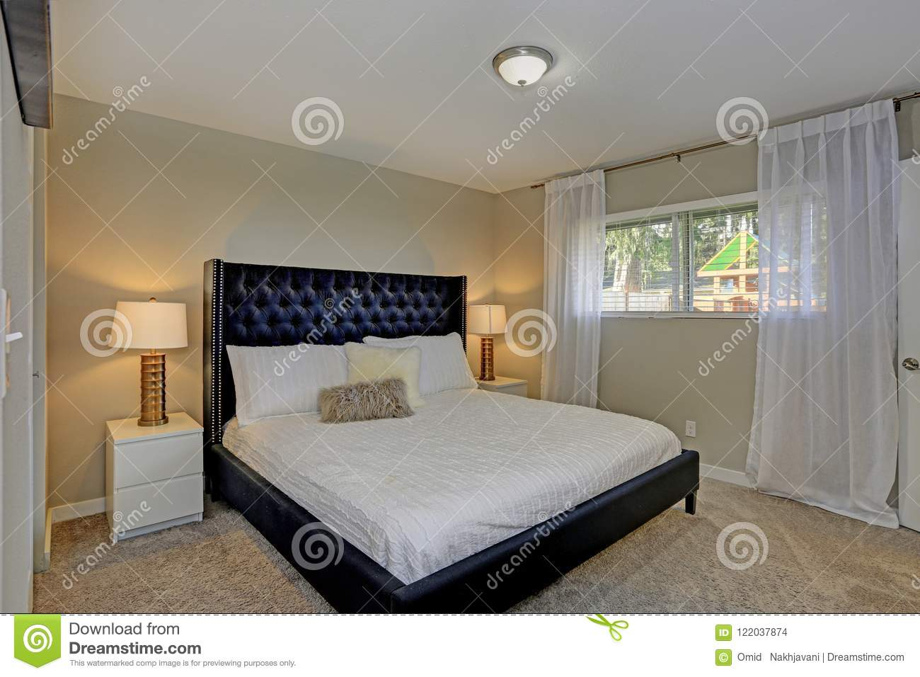 https www dreamstime com cozy bedroom features black bed beige walls cozy bedroom features black bed tufted headboard image122037874