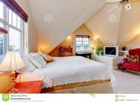 Cozy Bright Bedroom With Cream Color Vaulted Ceiling Stock ...