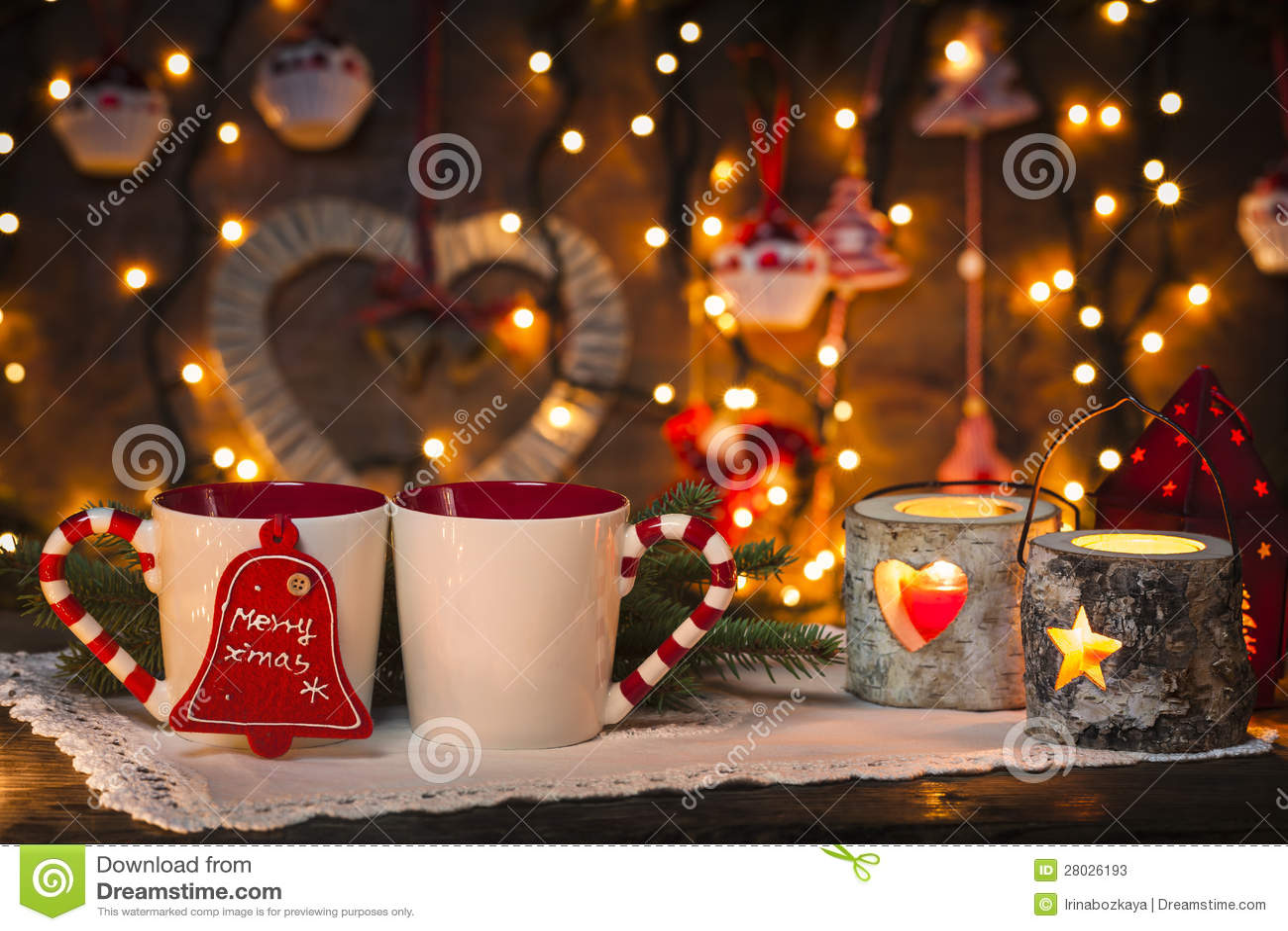 Rustic Fall Desktop Wallpaper Cozy Christmas Stock Image Image Of Both Lights White