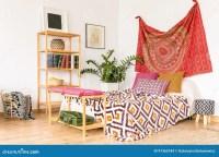 Cozy ethnic bedroom stock photo. Image of bedroom, indoors ...
